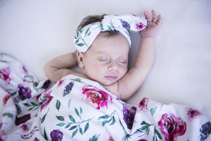 Jersey Wrap & Topknot Set - Peony Bloom - Tutu Irresistible Boutique