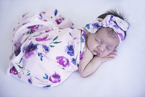 Jersey Wrap & Topknot Set - Floral Kiss - Tutu Irresistible Boutique