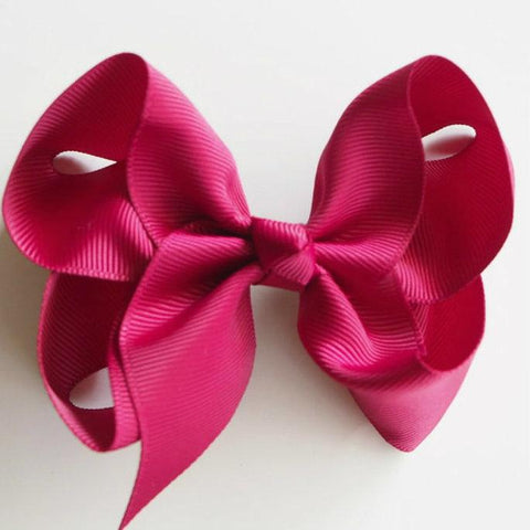 Satin Clip Bow - Burgundy