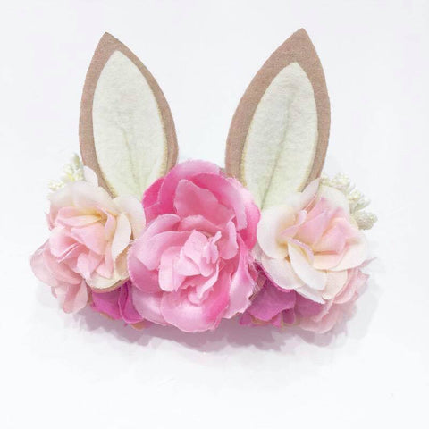 Luxe Floral Bunny Ears Headband - Pink