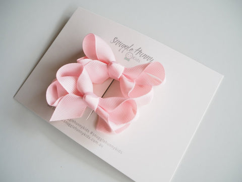 Light Pink Clip Bows - Small Piggy Tail Pair