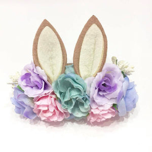 Luxe Floral Bunny Ears Headband - Pastel - Tutu Irresistible Boutique