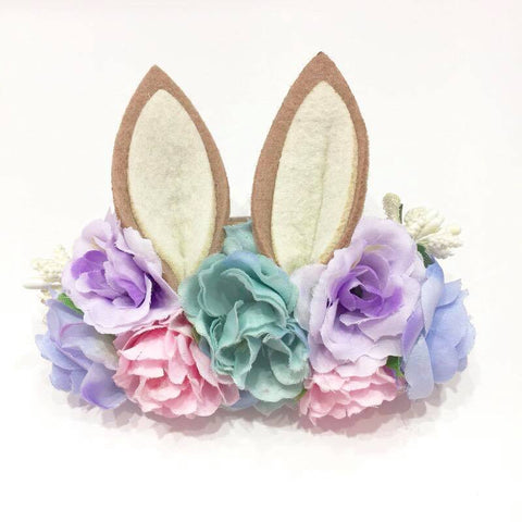 Luxe Floral Bunny Ears Headband - Pastel