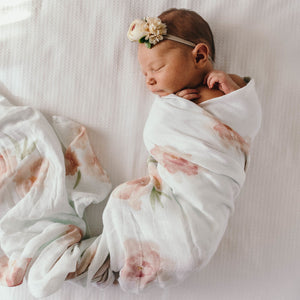 Organic Muslin Wrap - Sorbet Bloom - Tutu Irresistible Boutique
