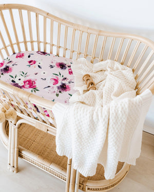 Bassinet & Change Pad Cover | Floral Kiss - Tutu Irresistible Boutique