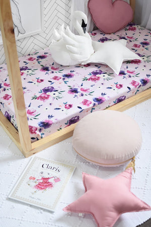 Floral Kiss Fitted Cot Sheet - Tutu Irresistible Boutique