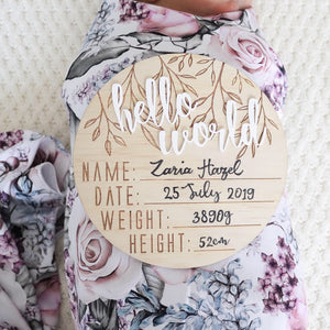 "Wooden + Acrylic ""Hello World"" Birth Announcement Disc - Tutu Irresistible Boutique"