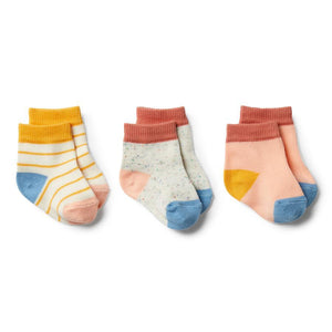 Golden Apricot, Tropical Peach, Clay - 3 Pack Baby Socks - Tutu Irresistible Boutique