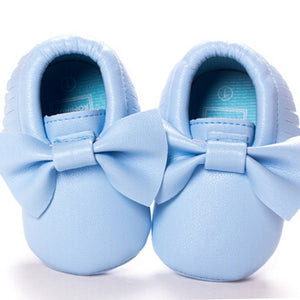 Baby Bow Moccasins - Blue - Tutu Irresistible Boutique