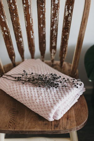 Diamond Knit Blanket - Blush Pink