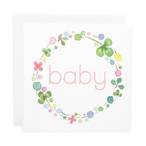 New Baby Card - Pink Garland