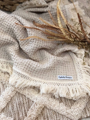 Fringed Waffle Blanket - Sand - Tutu Irresistible Boutique
