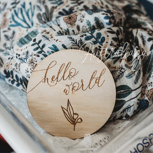 Wooden Australiana Hello World Announcement Disc - Tutu Irresistible Boutique