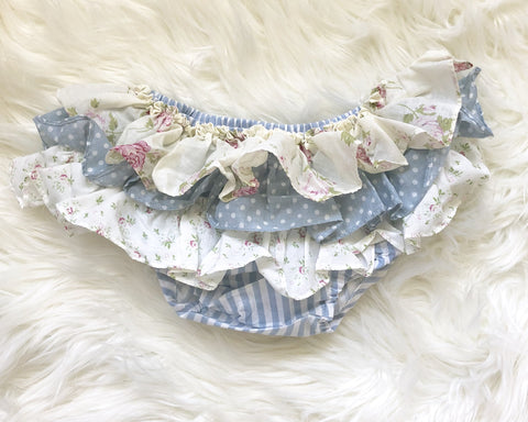 Vintage Ruffle Bloomers - Blue