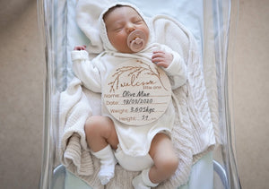 "Wooden ""Welcome To The World"" Birth Announcement Disc - Whimsical - Tutu Irresistible Boutique"