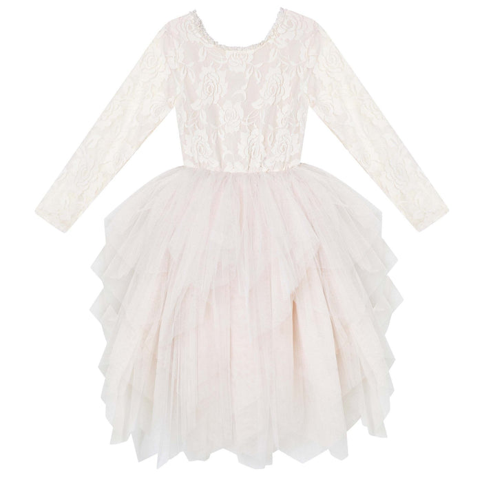 Ella Lace Tutu Dress L/S - Beige