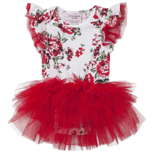 Pearl Floral S/S Romper - Red