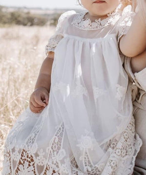 Heirloom Cherub Lace Baby Dress - Cream