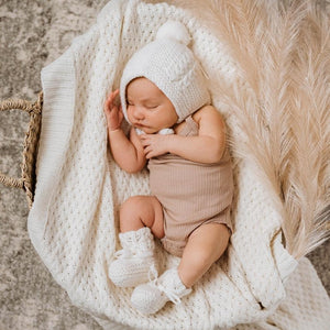 Ivory Merino Wool Bonnet & Booties Set - Tutu Irresistible Boutique