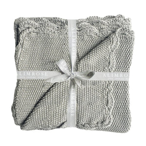 Knit Mini Moss Stitch Blanket -Grey - Tutu Irresistible Boutique