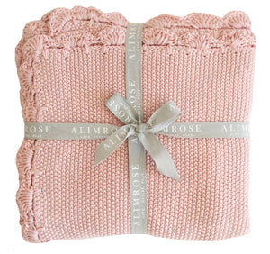 Knit Mini Moss Stitch Blanket -Blush Pink - Tutu Irresistible Boutique