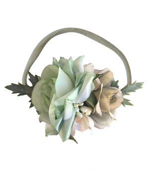 Luxe Floral Headband - Mist + Champagne - Tutu Irresistible Boutique