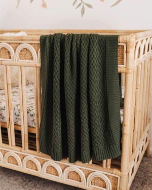 Diamond Knit Blanket - Olive - Tutu Irresistible Boutique