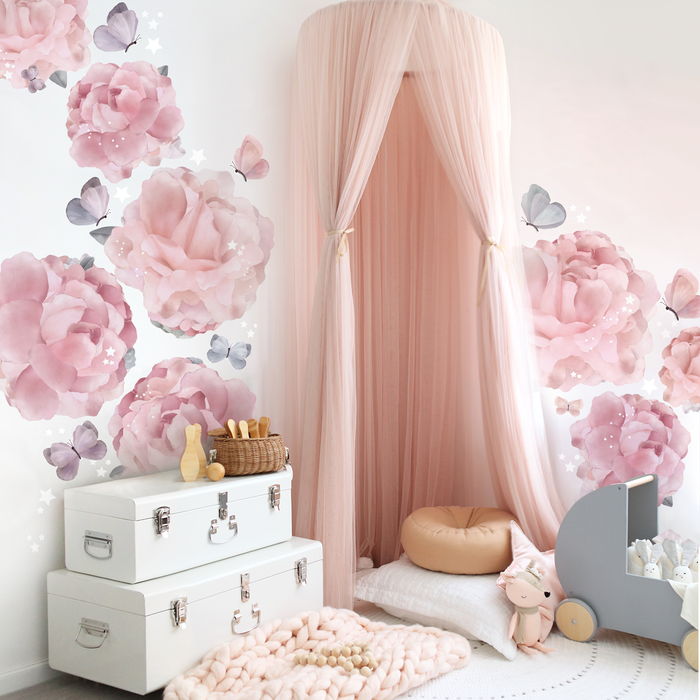 Peonies & Butterflies Wall Decals