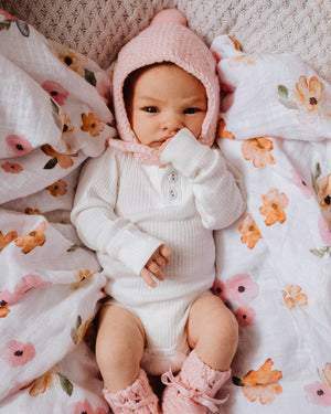 Pink Merino Wool Bonnet & Booties Set