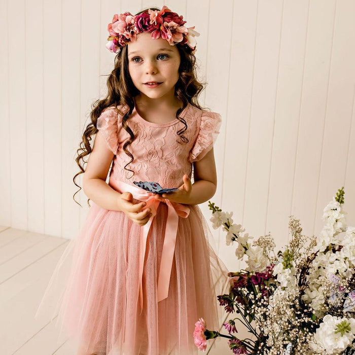 Libby Lace Tutu Dress - Tea Rose
