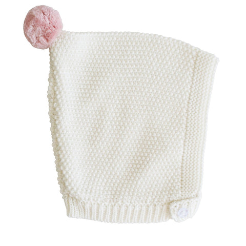 Pom Pom Pixie Hat - Dusty Pink & Ivory
