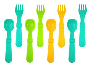 Re-play Utensils 8 Pack - Aqua/ Green/ Sunny Yellow