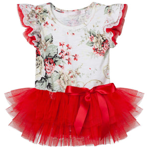 Sadie Floral Petti Romper - Red - Tutu Irresistible Boutique