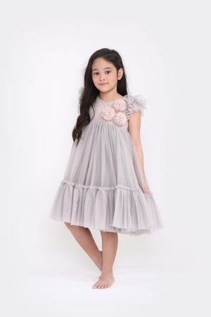 Spinkiewear Le Pom Pom Tutu Dress - Oyster - Tutu Irresistible Boutique
