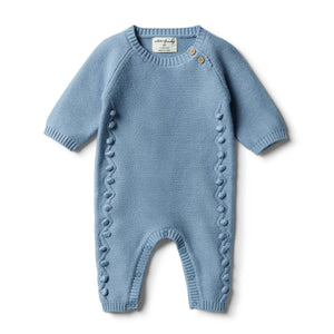 Faded Denim Knitted Growsuit Baubles - Tutu Irresistible Boutique