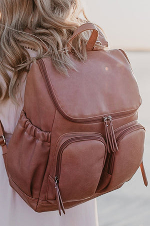 Faux Leather Nappy Backpack - Dusty Rose