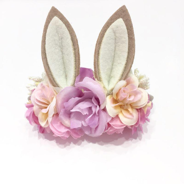 Luxe Floral Bunny Ears Headband - Lavender Pink