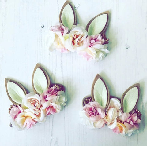 Luxe Floral Bunny Ears Headband - Ivory Pink