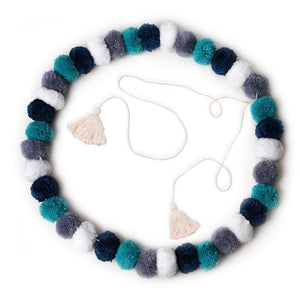 Pom Pom Garland Confetti Blue - Tutu Irresistible Boutique