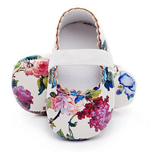Baby Moccasins - White Floral - Tutu Irresistible Boutique