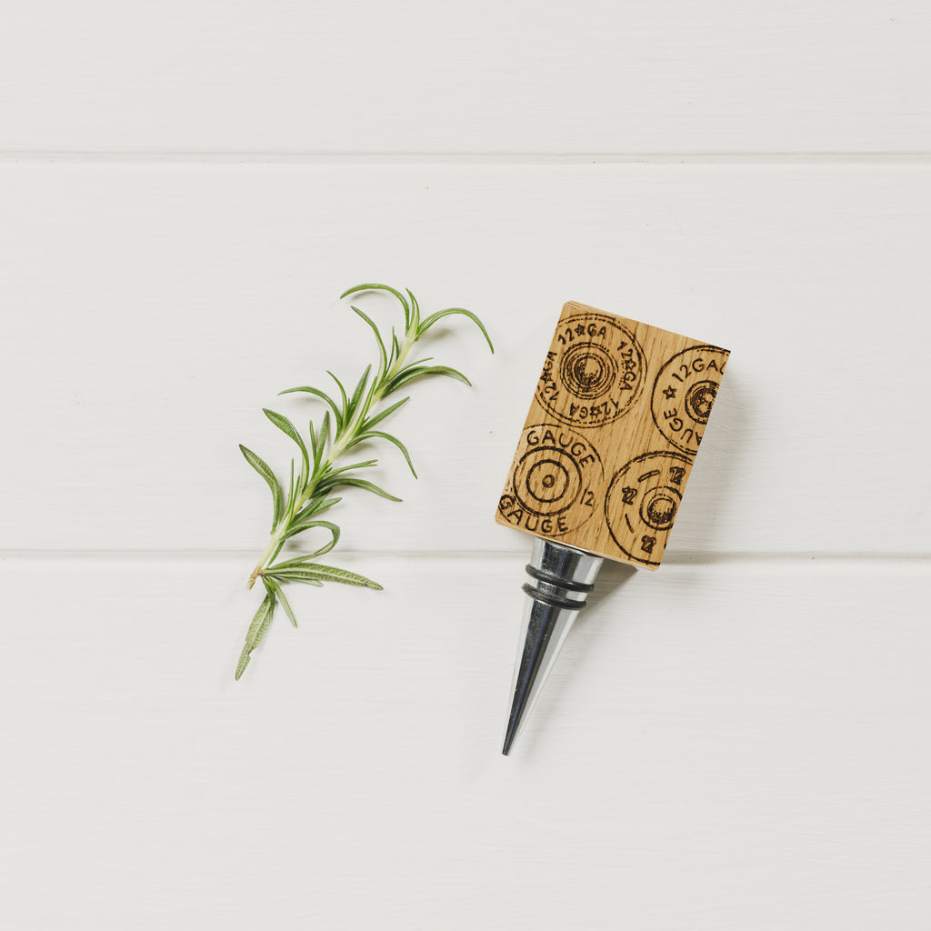 Gun cartridge Oak Bottle Stopper