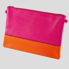 Fuchsia & Neon Orange clutch