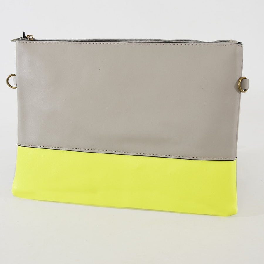 Grey & Neon Yellow Clutch