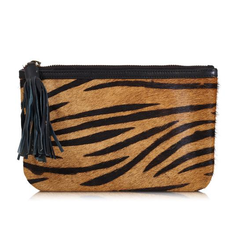 Javan Animal Print Leather Clutch Bag