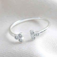 Adjustable Sterling Silver Triple Dots Ring