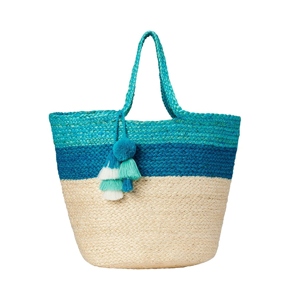 Braided Aqua Jute Beachbag