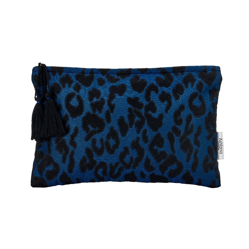 Navy/Black Leopard Miami Clutch Bag