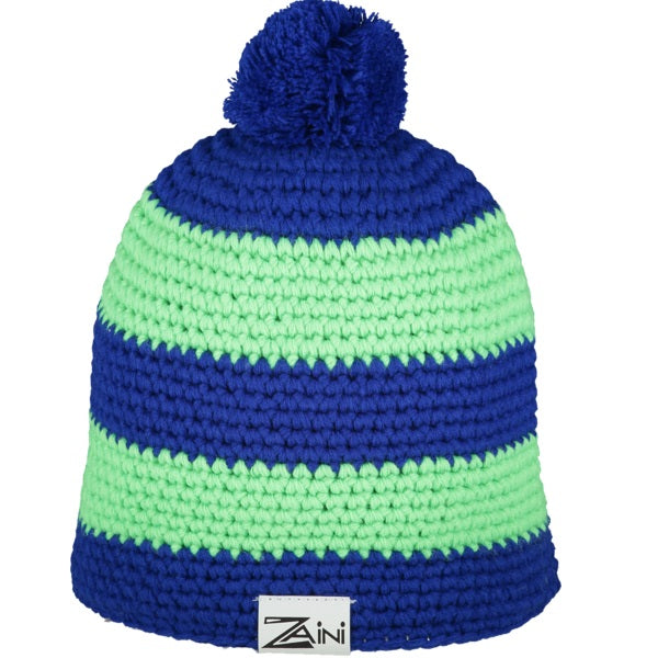 Pea green & navy blue Beanie