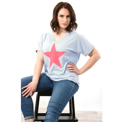 Baby Blue T-shirt with neon pink star