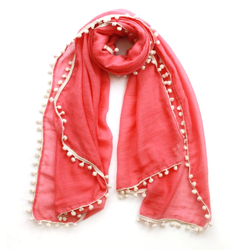 Coral scarf with beige pompoms
